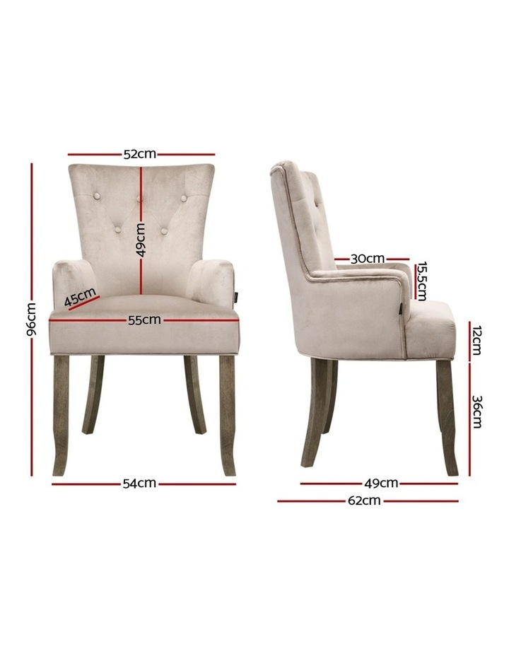 Dining Chairs French Provincial Chair Velvet Fabric Timber Retro Camel image 2