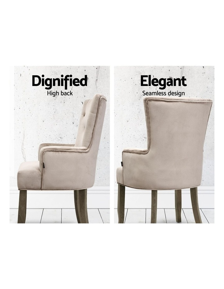 Dining Chairs French Provincial Chair Velvet Fabric Timber Retro Camel image 4