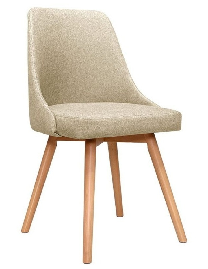2x Replica Dining Chairs Beech Wooden Timber Chair Kitchen Fabric Beige image 1