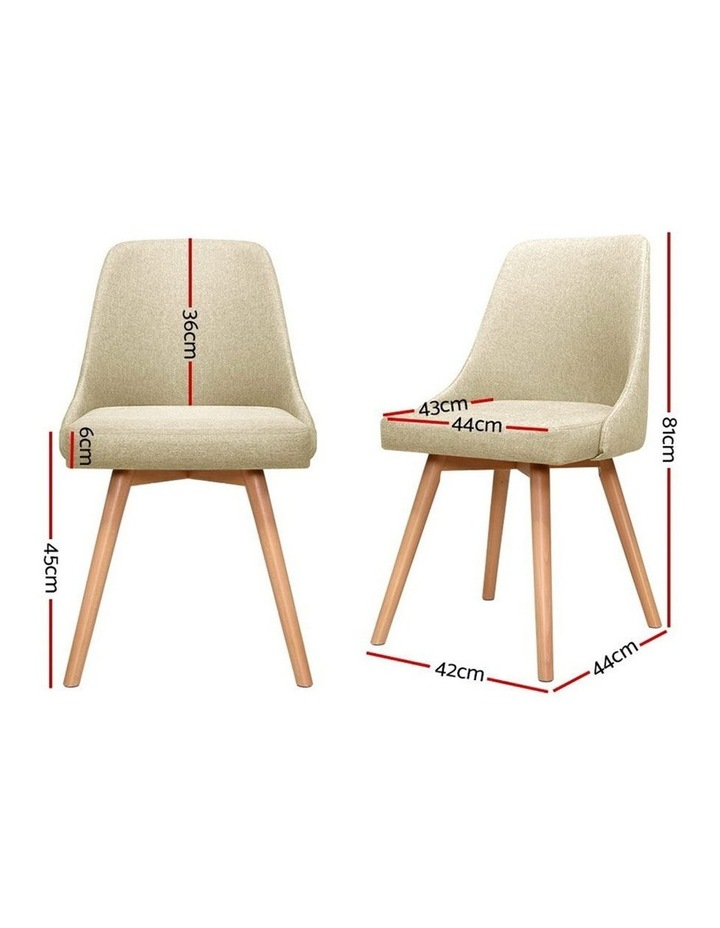 2x Replica Dining Chairs Beech Wooden Timber Chair Kitchen Fabric Beige image 2