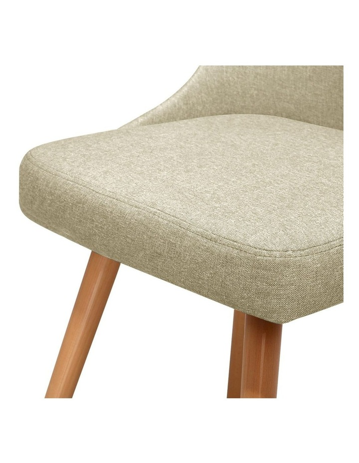 2x Replica Dining Chairs Beech Wooden Timber Chair Kitchen Fabric Beige image 3