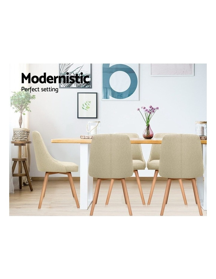 2x Replica Dining Chairs Beech Wooden Timber Chair Kitchen Fabric Beige image 5
