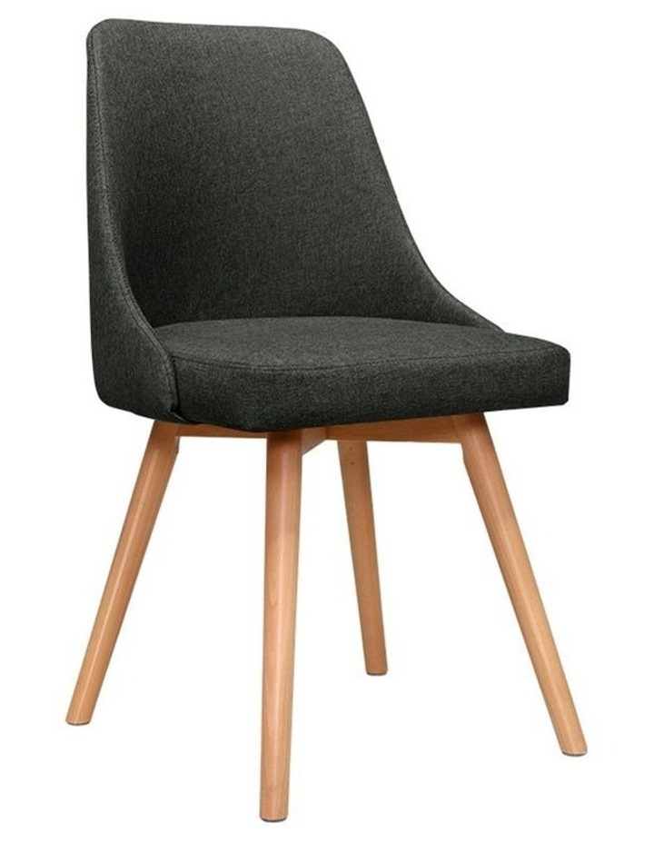 2x Replica Dining Chairs Beech Wooden Chair Cafe Kitchen Fabric Charcoal image 1