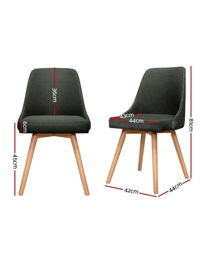 2x Replica Dining Chairs Beech Wooden Chair Cafe Kitchen Fabric Charcoal image 2