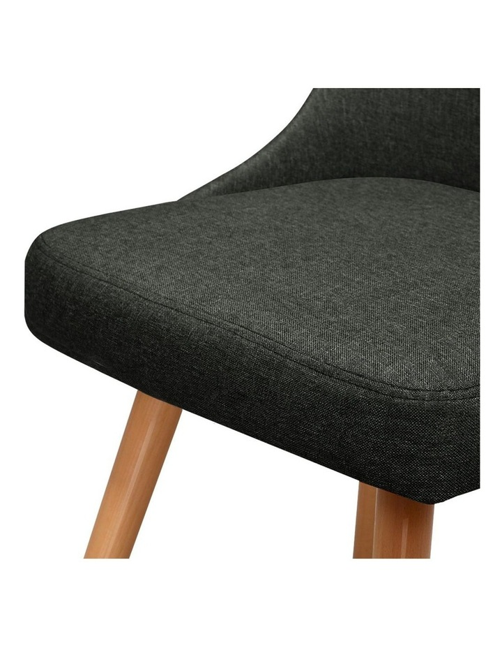 2x Replica Dining Chairs Beech Wooden Chair Cafe Kitchen Fabric Charcoal image 3