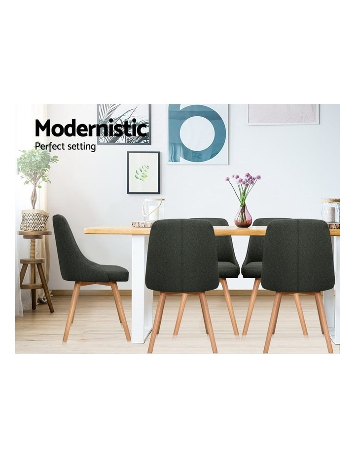 2x Replica Dining Chairs Beech Wooden Chair Cafe Kitchen Fabric Charcoal image 5