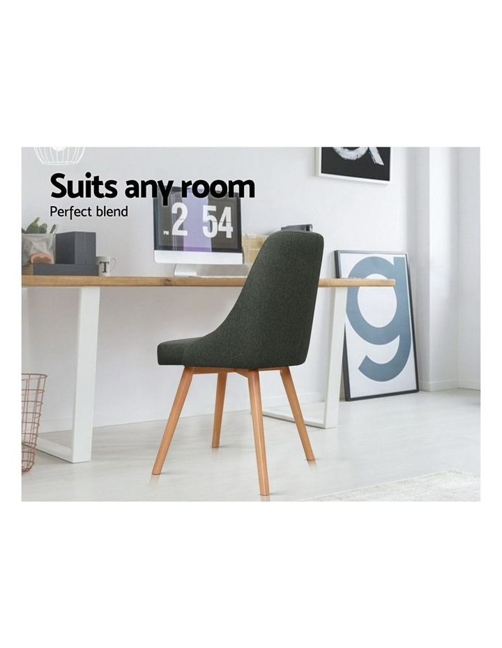 2x Replica Dining Chairs Beech Wooden Chair Cafe Kitchen Fabric Charcoal image 6
