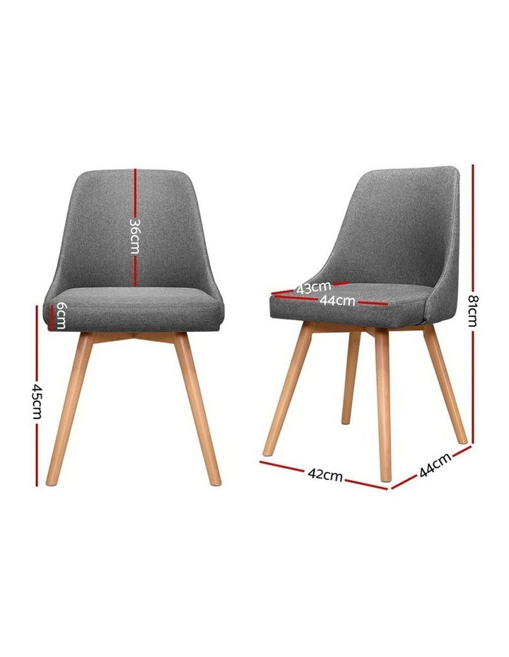 2x Replica Dining Chairs Beech Wooden Timber Chair Kitchen Fabric Grey image 2