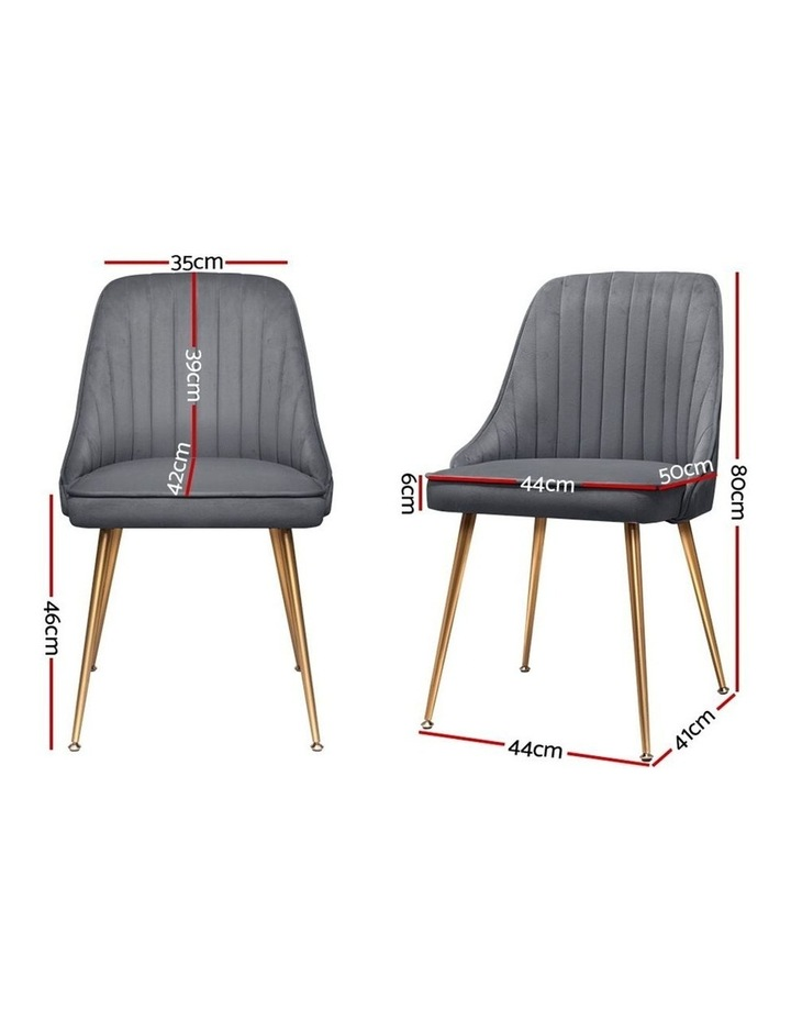 Dining Chairs Retro Chair Cafe Kitchen Modern Iron Legs Velvet Grey x2 image 2