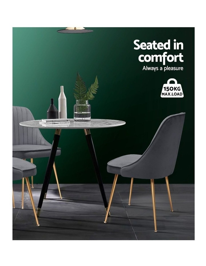 Dining Chairs Retro Chair Cafe Kitchen Modern Iron Legs Velvet Grey x2 image 5