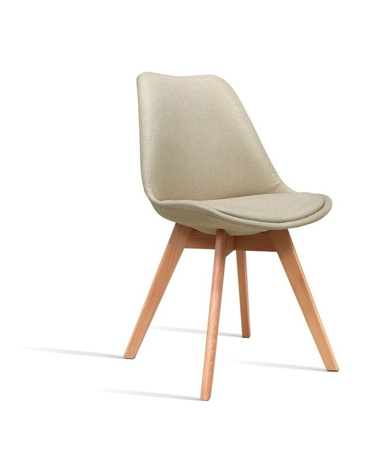 DSW Dining Chairs Retro Replica Eames Eiffel Kitchen Chair Cafe Beige Fabric x2 image 1