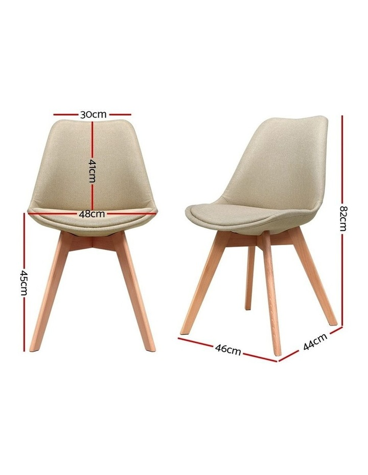 DSW Dining Chairs Retro Replica Eames Eiffel Kitchen Chair Cafe Beige Fabric x2 image 2