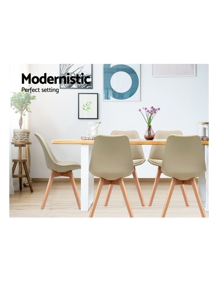 DSW Dining Chairs Retro Replica Eames Eiffel Kitchen Chair Cafe Beige Fabric x2 image 4