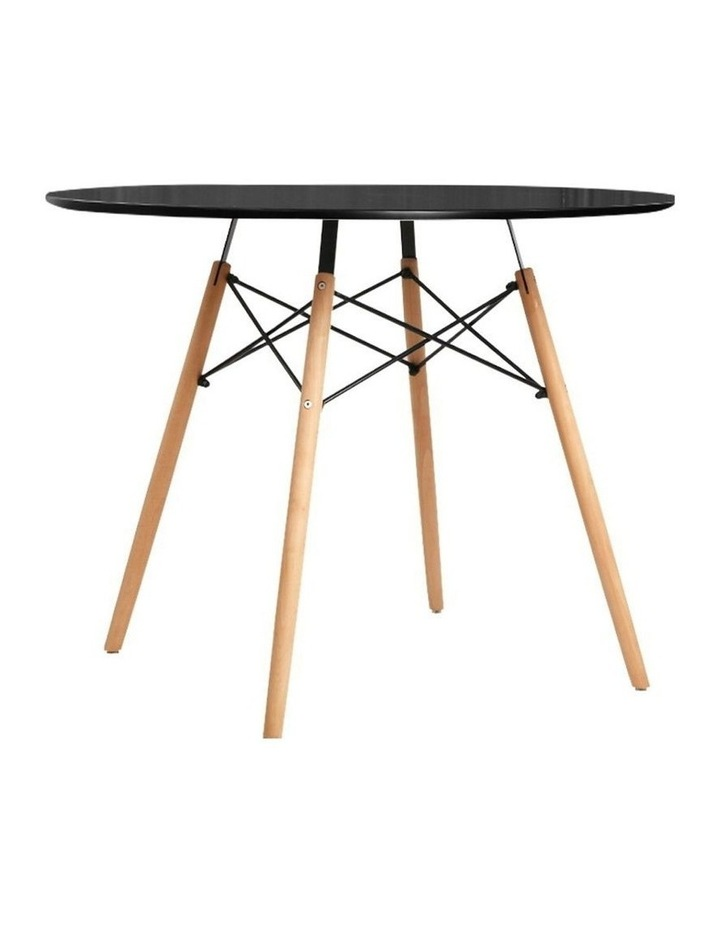 Round Dining Table 4 Seater 90cm Black Replica Eames DSW Cafe Kitchen Retro Timber Wood MDF Tables image 1