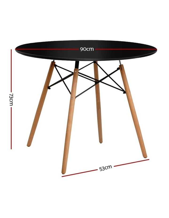 Round Dining Table 4 Seater 90cm Black Replica Eames DSW Cafe Kitchen Retro Timber Wood MDF Tables image 2