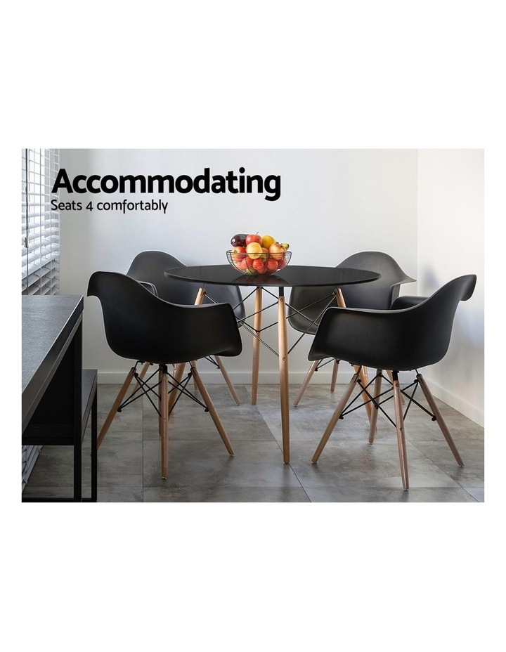 Round Dining Table 4 Seater 90cm Black Replica Eames DSW Cafe Kitchen Retro Timber Wood MDF Tables image 4