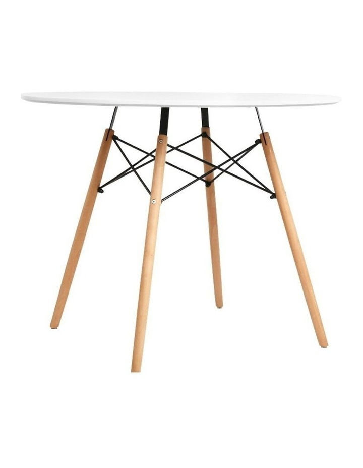 Round Dining Table 4 Seater 90cm White Replica Eames DSW Cafe Kitchen Retro Timber Wood MDF Tables image 1