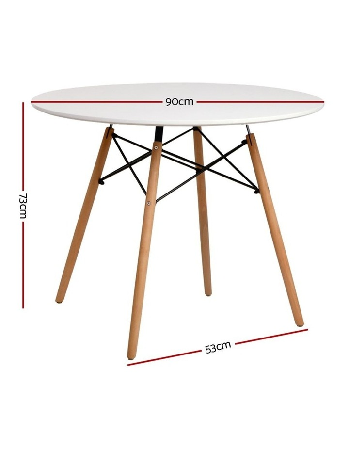 Round Dining Table 4 Seater 90cm White Replica Eames DSW Cafe Kitchen Retro Timber Wood MDF Tables image 2
