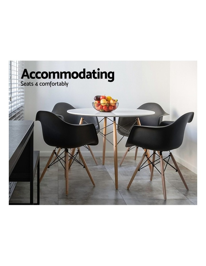 Round Dining Table 4 Seater 90cm White Replica Eames DSW Cafe Kitchen Retro Timber Wood MDF Tables image 4
