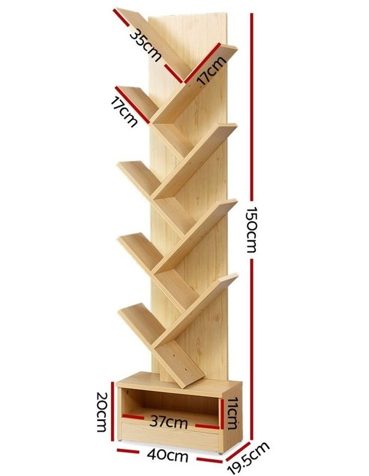 Display Shelf 9-Shelf Tree Bookshelf Book Storage Rack Bookcase Natural image 2