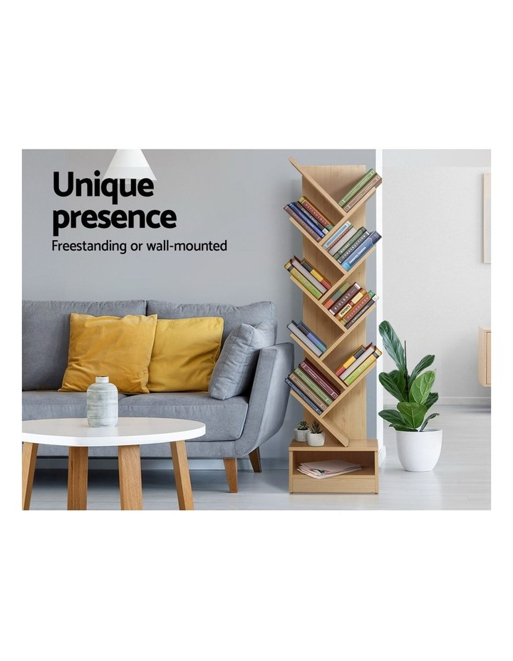 Display Shelf 9-Shelf Tree Bookshelf Book Storage Rack Bookcase Natural image 3
