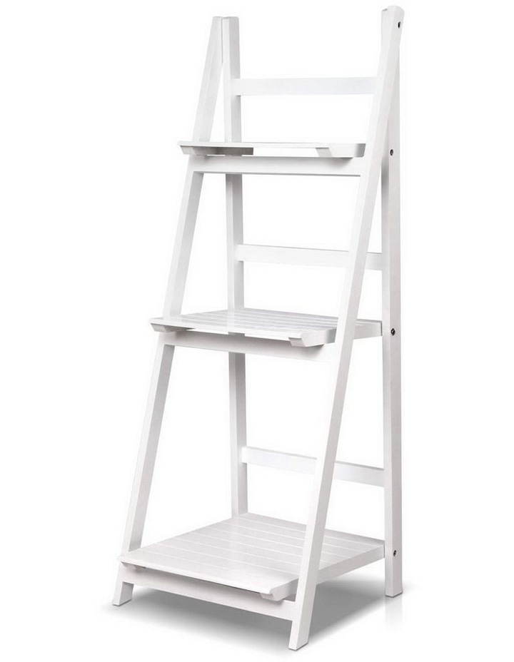 Display Shelf 3 Tier Wooden Ladder Stand Storage Book Shelves Rack White image 1