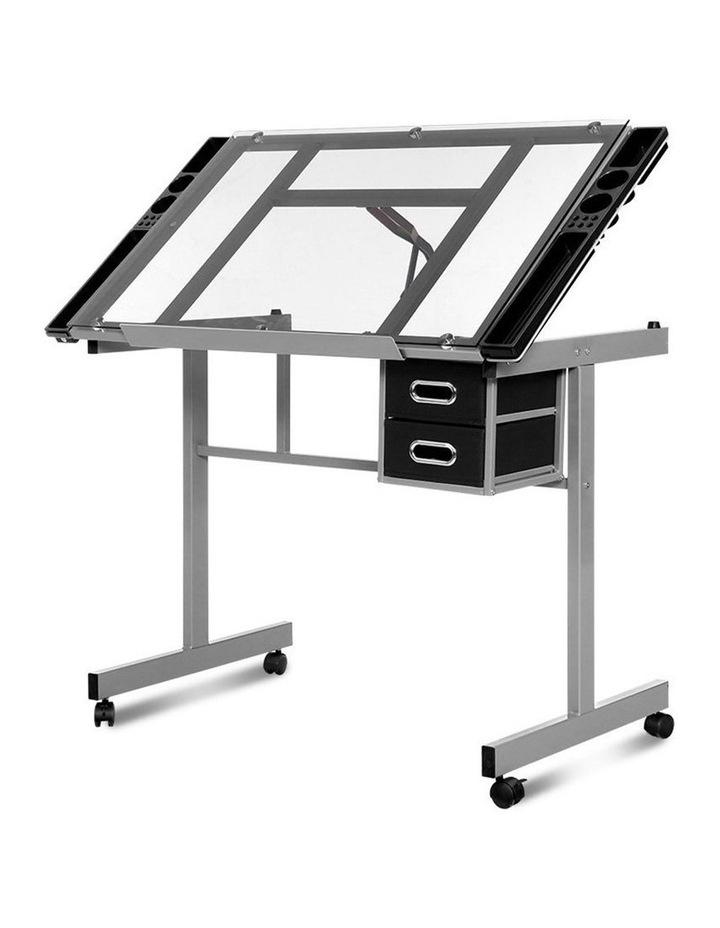 Drawing Desk Drafting Table Craft Adjustable Glass Art Tilt Drawers Grey image 1