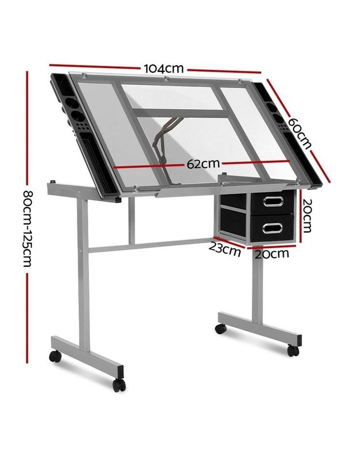 Drawing Desk Drafting Table Craft Adjustable Glass Art Tilt Drawers Grey image 2