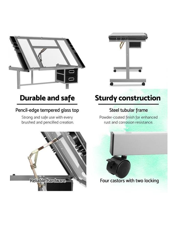 Drawing Desk Drafting Table Craft Adjustable Glass Art Tilt Drawers Grey image 5
