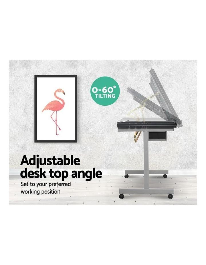 Drawing Desk Drafting Table Craft Adjustable Glass Art Tilt Drawers Grey image 6