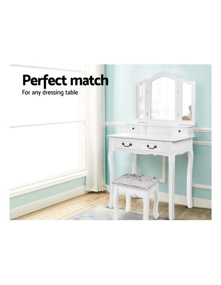 Dressing Stool Bedroom White Make Up Chair Living Room Fabric Furniture image 4