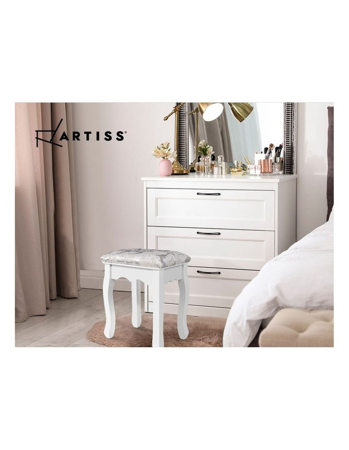 Dressing Stool Bedroom White Make Up Chair Living Room Fabric Furniture image 6