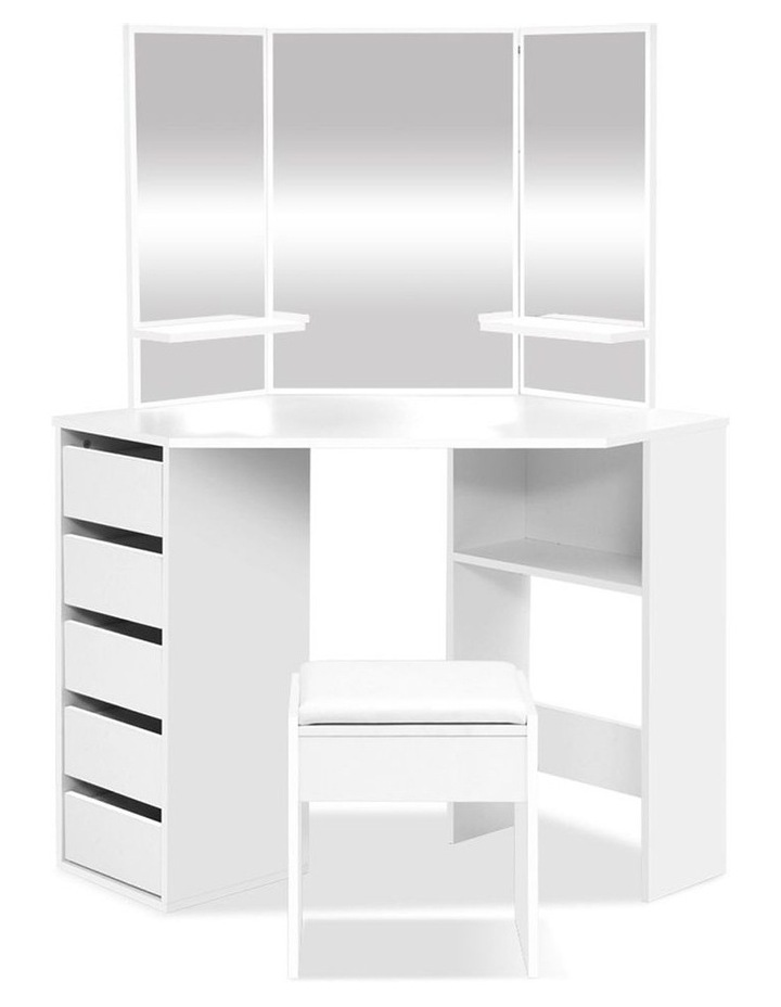 Corner Dressing Table With Mirror Stool White Mirrors Makeup Tables Chair image 1