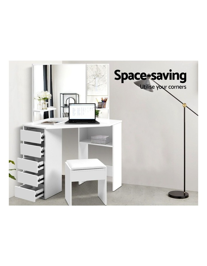 Corner Dressing Table With Mirror Stool White Mirrors Makeup Tables Chair image 3