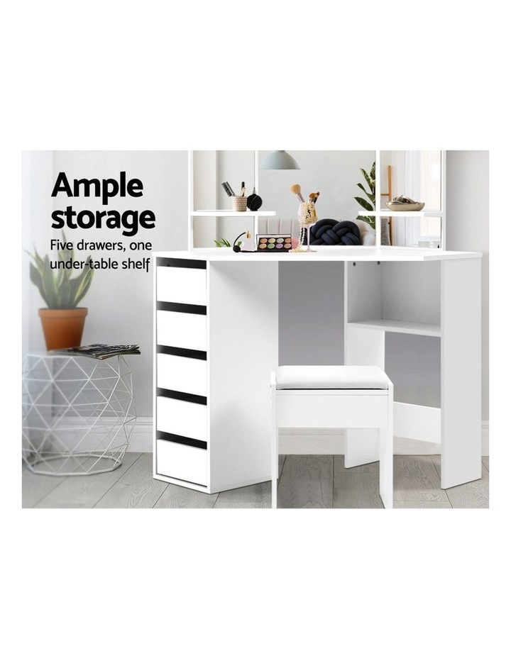 Corner Dressing Table With Mirror Stool White Mirrors Makeup Tables Chair image 4