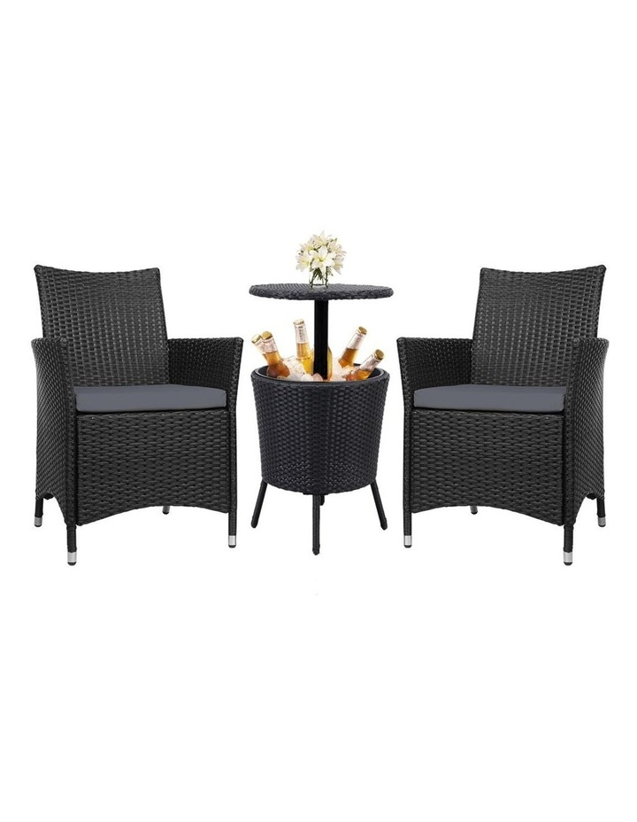 Outdoor Furniture Wicker Chairs Bar Table Cooler Ice Bucket Patio Coffee Bistro Set image 1