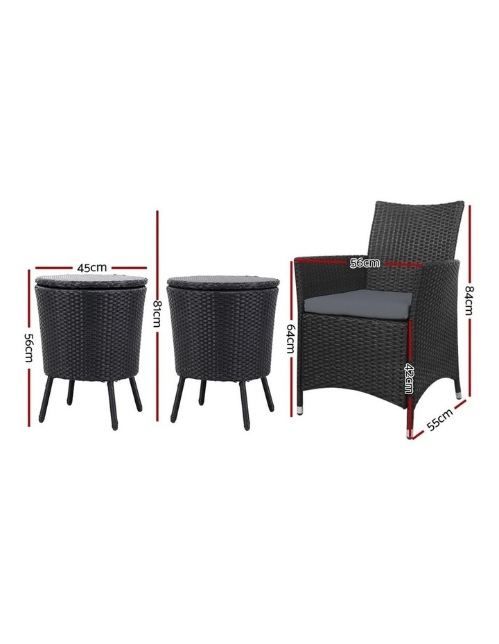 Outdoor Furniture Wicker Chairs Bar Table Cooler Ice Bucket Patio Coffee Bistro Set image 2