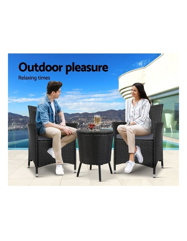 Outdoor Furniture Wicker Chairs Bar Table Cooler Ice Bucket Patio Coffee Bistro Set image 4