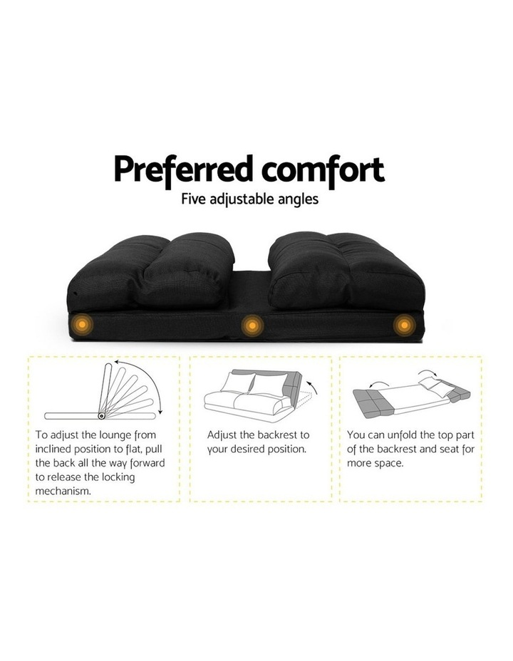 Floor Sofa Lounge 2 Seater Futon Chair Couch Folding Recliner Metal Black image 3
