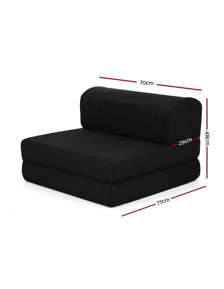 Folding Foam Mattress Portable Single Sofa Bed Mat Air Mesh Fabric Black image 3