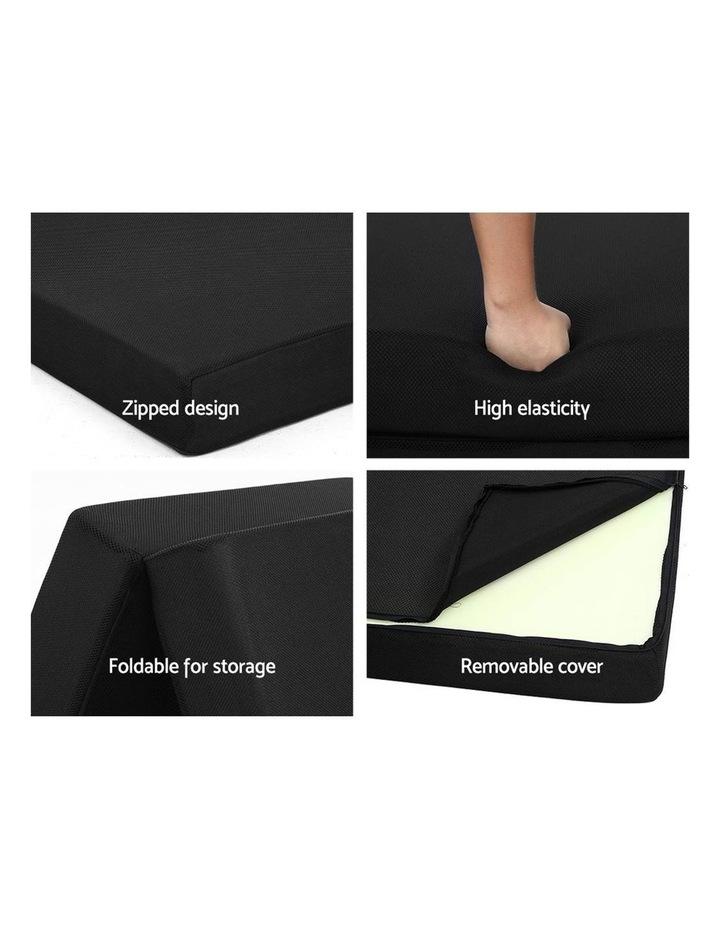 Folding Foam Mattress Portable Single Sofa Bed Mat Air Mesh Fabric Black image 6