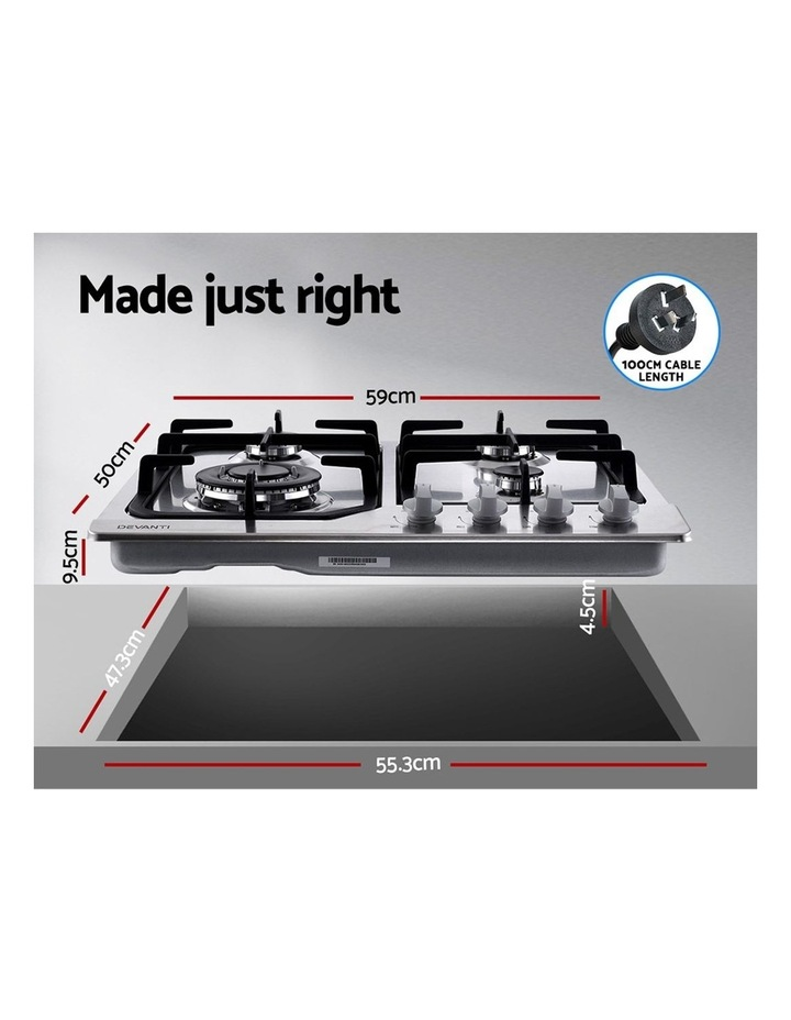 Gas Cooktop 60cm Gas Stove Cooker 4 Burner Cook Top Konbs NG LPG Steel image 2