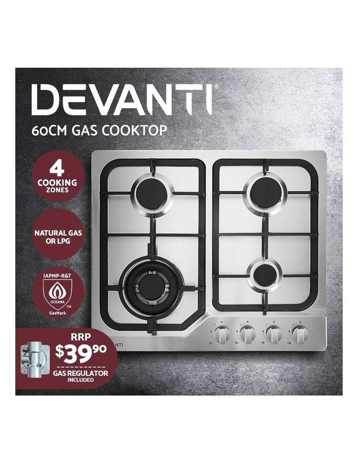 Gas Cooktop 60cm Gas Stove Cooker 4 Burner Cook Top Konbs NG LPG Steel image 3