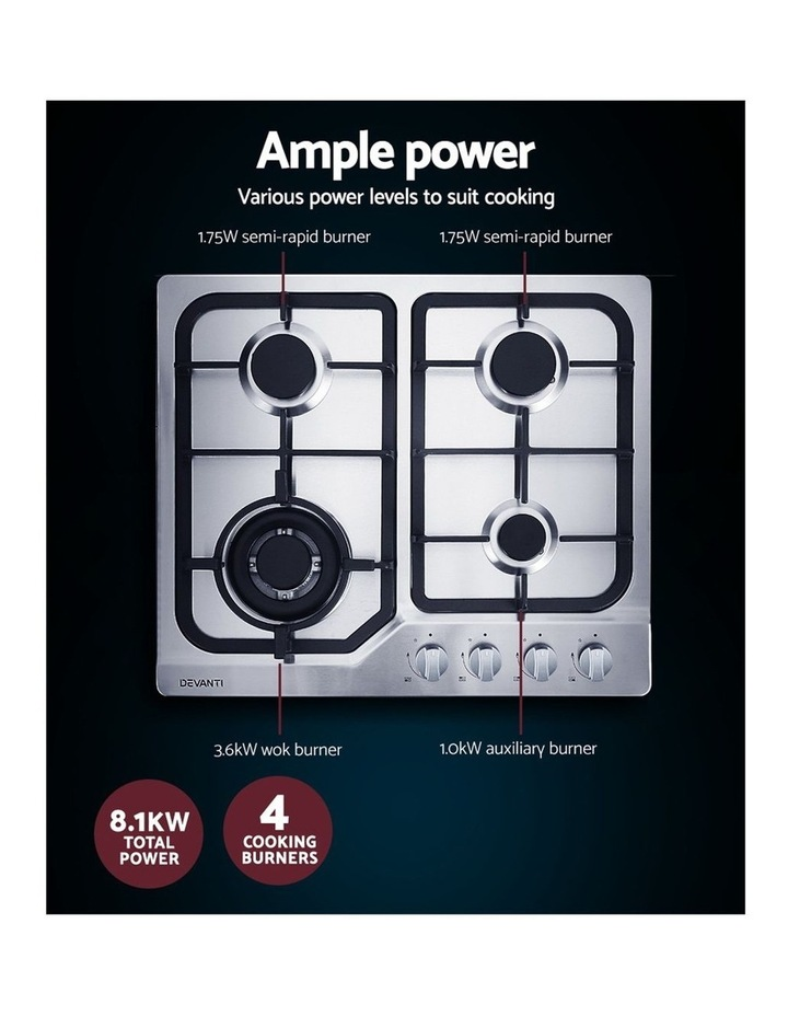 Gas Cooktop 60cm Gas Stove Cooker 4 Burner Cook Top Konbs NG LPG Steel image 5