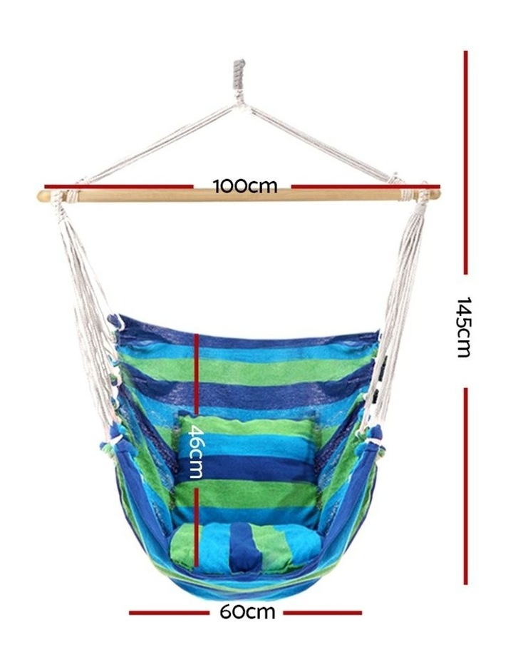 Hanging Hammock Chair Swing Indoor Outdoor Portable Camping Blue image 2