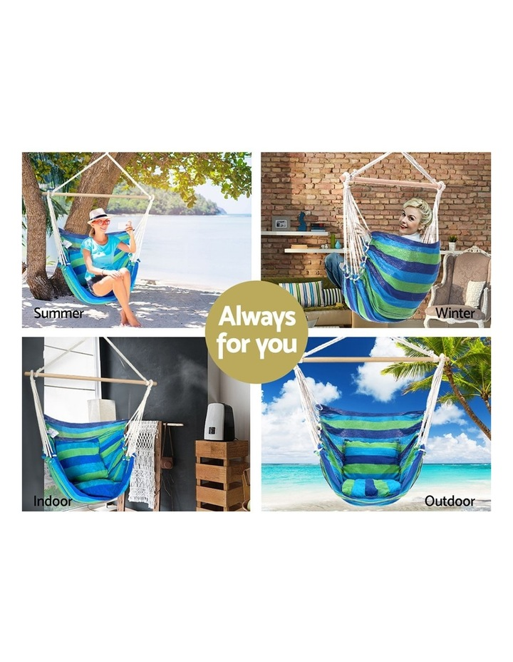 Hanging Hammock Chair Swing Indoor Outdoor Portable Camping Blue image 3