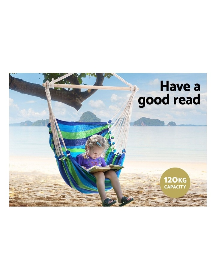 Hanging Hammock Chair Swing Indoor Outdoor Portable Camping Blue image 4