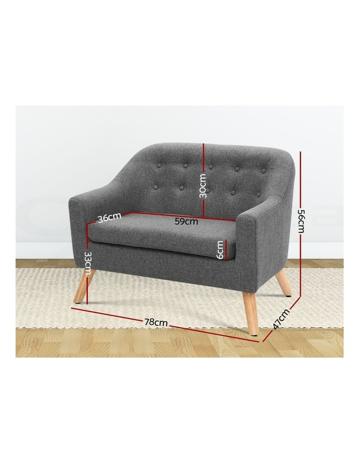 Keezi Kids Sofa Armchair Lounge Chair Chairs Children Couch Double Fabric Grey image 2