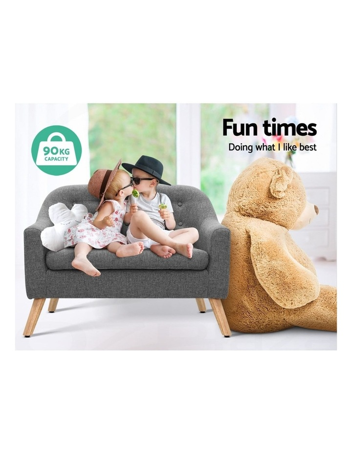 Keezi Kids Sofa Armchair Lounge Chair Chairs Children Couch Double Fabric Grey image 3