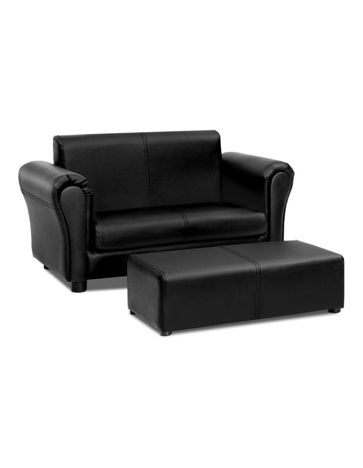 Keezi Kids Sofa Armchair Footstool Set Children Lounge Chair Couch Double Black image 1